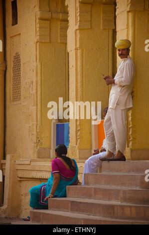 Museum staff at Mehrangarh Fort, Jodhpur, Rajasthan, India - Stock Image