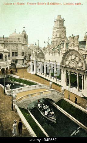 Old vintage British Topographical Commemorative  Picture Postcard of the Franco-British Exhibition 1908 FOR EDITORIAL - Stock Image