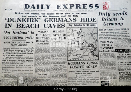 Front page headlines of the Daily Express newspaper  'Dunkirk Germans Hide in Beach Caves'  London EnglandUK August 1943 - Stock Image