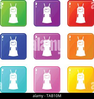 Girl dress icons set 9 color collection - Stock Image
