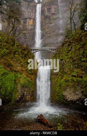 Looking up at Multnomah Falls. - Stock Image