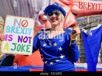 Madeleine Kay, EUsupergirl, Pro and Anti Brexit Protests, Houses of Parliament, Westminster, London. UK - Stock Image
