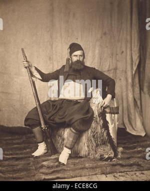 Self-Portrait in Zouave Uniform; Roger Fenton, English, 1819 - 1869; Crimea, Europe; 1855; Albumen silver print - Stock Image