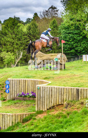 Caroline Powell on her horse Spice Sensation clears a tree trunk obstacle after ascending a slope on a sunny day - Stock Image