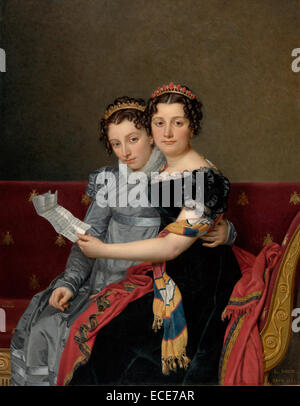 Portrait of the Sisters Zénaïde and Charlotte Bonaparte by Jacques-Louis David, French, 1821; Oil on canvas; - Stock Image