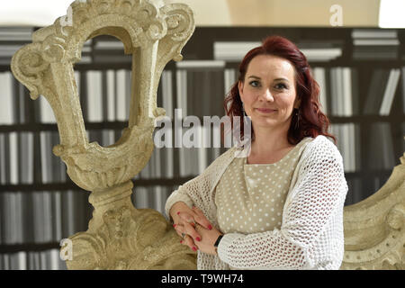 Brno, Czech Republic. 20th May, 2019. Czech soprano Jana Srejma Kacirkova poses for the photographer during an informal meeting with journalists on the 'Three Fragments from Juliette/The Human Voice' performance by the National Theatre Brno, on May 20, 2019, in Brno, Czech Republic. The premiere will be on June 14, 2019. Credit: Vaclav Salek/CTK Photo/Alamy Live News - Stock Image