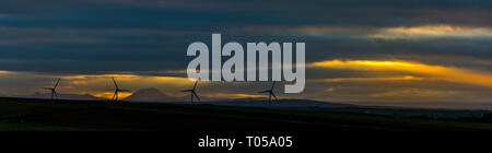 Sunset from Hill of Rigifa'.  Near Mey, Caithness, Scotland, UK - Stock Image