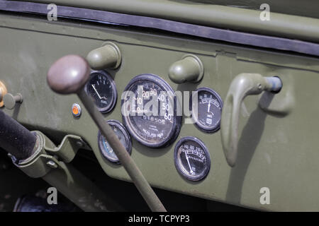 A close up of the inside of an American world war two jeep - Stock Image