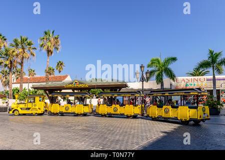 Parrot park train collecting customers, Puerto De La Cruz, Tenerife - Stock Image