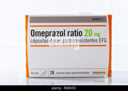 A box of Omeprazole capsules of the Ratiopharm brand isolated on white. Photo taken in Madrid, Spain, on March 8, 2019. - Stock Image