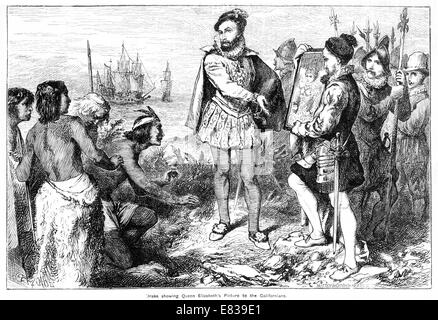 Sir Francis Drake showing Queen Elizabeth's Picture to Native Californians - Stock Image