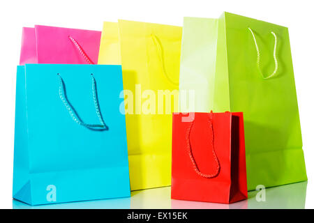 Stock image of multi colored bags over white background - Stock Image