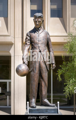 Nikola Tesla statue Palo Alto in Silicon Valley California. Funded by a successful Kickstarter canpaign. - Stock Image