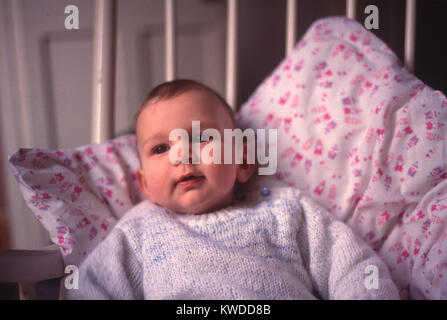 Young baby boy child sitting against cushion in chair - Stock Image