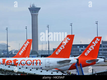 Boeing 737 of Easy jet low coast airline Roissy - Stock Image