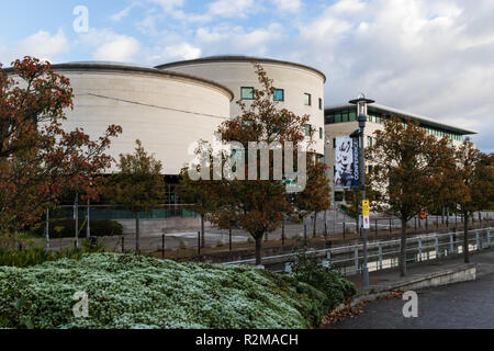 Civic Centre on a frosty autumn morning. Lagan Valley Island, Lisburn, County Antrim, N.Ireland. - Stock Image