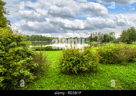 The pond at Catherine Park Gardens in Tsarskoye Selo, Pushkin, part of the Royal Residence of Catherine Palace outside of St. Petersburg Russia - Stock Image