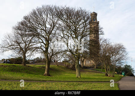 EDINBURGH, SCOTLAND - FEBRUARY 9, 2019 - The Nelson Monument is a commemorative tower in honour of Vice Admiral Horatio Nelson - Stock Image