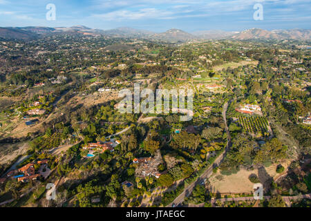 Aerial over Encinitas from a hot air balloon, California, United States of America, North America - Stock Image