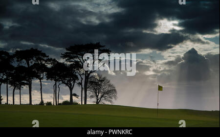 Storm brewing on Irish golf course. - Stock Image