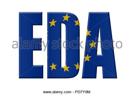 Digital Illustration - EU agency. EDA European Defence Agency, Europäische Verteidigungsagentur, Europees Defensieagentschap - Stock Image