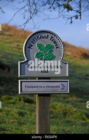 National Trust sign. Queen Adelaid's Hill. Windermere, Lake District National Park, Cumbria, England, United Kingdom, Europe. - Stock Image