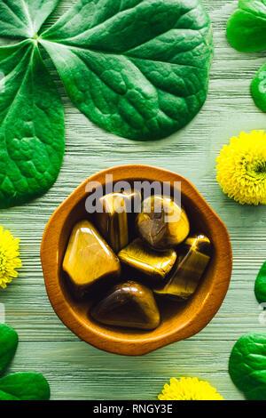 Tiger's Eye with Shamrocks and Yellow Chrysanthemums - Stock Image