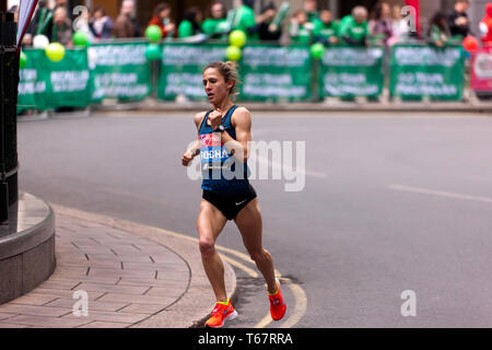 Carla Salome Rocha (POR),  competing in the Women's Elite 2019 London Marathon.  Carla went on to finish a 8th woman (7th in her 18-39 category),  in a time of 02:24:47 - Stock Image