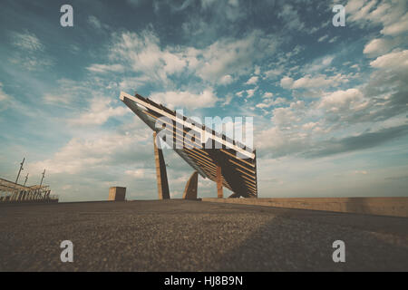 Modern solar photovoltaic panel in Forum district zone, Barcelona, Spain, wide angle shoot from bottom with beautiful - Stock Image