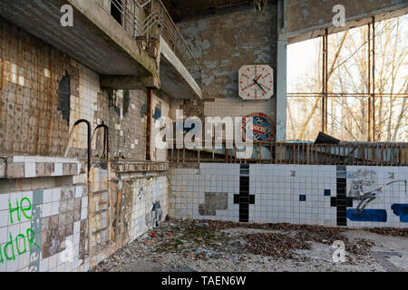 At the Azure Swimming Pool, Pripyat, Ukraine, inside the Chernobyl Exclusion Zone - Stock Image