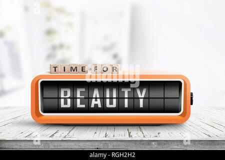 Time for beauty message on a retro alarm clock in a bright living room - Stock Image