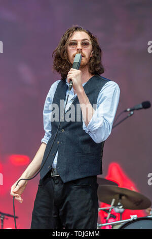 June 15, 2019 - Manchester, Tennessee, U.S - ANDREW HOZIER-BYRNE of Hozier during the Bonnaroo Music + Arts Festival in Manchester, Tennessee (Credit Image: © Daniel DeSlover/ZUMA Wire) - Stock Image