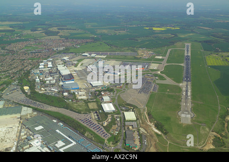Aerial view of London Luton Airport featuring the runway and the Terminal Buildings - Stock Image