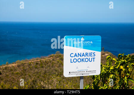 Canaries lookout sign in St Lucia, The Caribbean - Stock Image