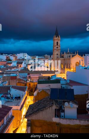 Spain, Malaga, Parroquia San Pablo before sunrise in Malaga center - Stock Image