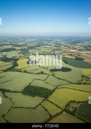 Aerial view over the English countryside in summer - Stock Image