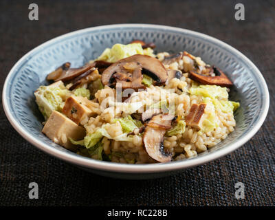 Bowl with a home made mushroom savoy cabbage risotto with tofu. - Stock Image