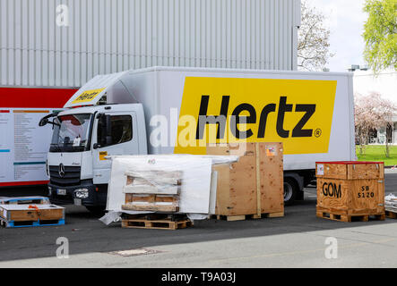31.03.2019, Hannover, North Rhine-Westphalia, Germany - Hertz truck at the Hanover Fair. 00X190331D023CAROEX.JPG [MODEL RELEASE: NO, PROPERTY RELEASE: - Stock Image