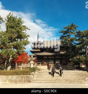 View of the Chumon or Inner Gate, with Five-Storied Pagoda at Horyu-ji or Learning Temple of the Flourishing Law, - Stock Image