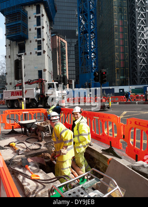 Road works on the corner of Bishopsgate and Threadneedle Street in Central London UK  KATHY DEWITT - Stock Image