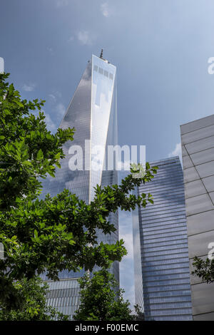 One World Trade Centre on bright sunny day with trees, New York, USA - Stock Image