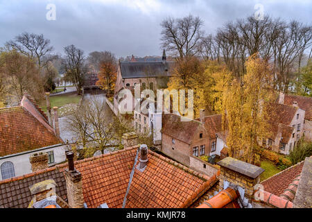 Bruges. Roof top view from the De Halve Maan Brewery towards Minnewater - Stock Image