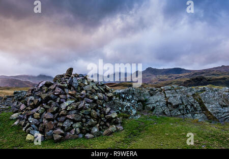 The Langdale Pikes seen from the summit of Silver How, near  Grasmere, Lake District, Cumbria - Stock Image