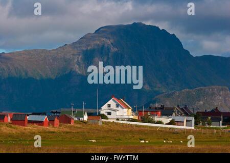 The village Eggum on Lofoten in Norway. - Stock Image