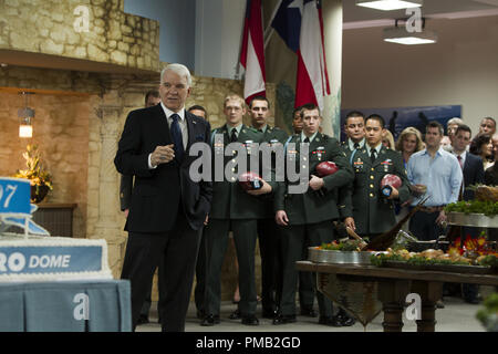 Norm (Steve Martin) introduces the Bravos to his elite guests in the stadium VIP buffet lounge with Dime (Garrett Hedlund), Holliday (Ismael Cruz Cordova), Billy Lynn (Joe Alwyn), Sykes (Barney Harris), Lodis (Brian 'Astro' Bradley), Crack (Beau Knapp), Mango (Arturo Castro), Foo (Mason Lee) in TriStar Pictures' BILLY LYNN'S LONG HALFTIME WALK. - Stock Image