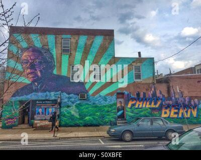 Mural in support of Presidential candidate Bernie Sanders in South Philadelphia before the Pennsylvania primary. - Stock Image