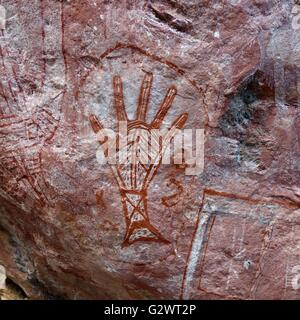 Ancient Aboriginal cave paintings known as 'rock art' found at Mount Borradaile, West Arnhem Land, Northern - Stock Image