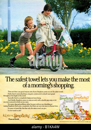 1970s Magazine Advertisement for Kotex Press-n Sanitary Towels by Kimberly-Clark 1978 FOR EDITORIAL USE ONLY - Stock Image