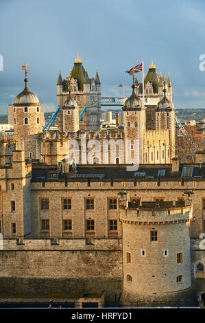 The Tower of London in the city of London has stood since William the Conqueror first built the White Tower, today - Stock Image