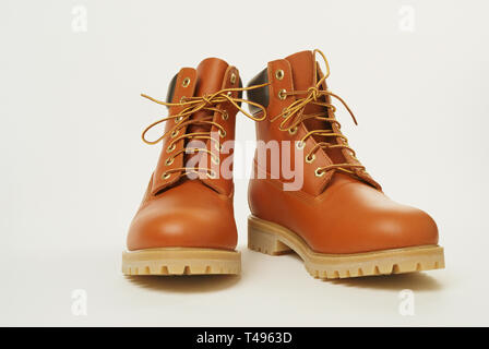 Close up of brand new work boots, USA - Stock Image